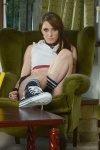 Samantha Slip Out Of Her Small Gym Skirt Polo Shirt And Pretty Lingerie - Picture 4