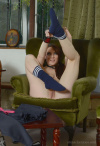 Samantha Slip Out Of Her Small Gym Skirt Polo Shirt And Pretty Lingerie - Picture 13