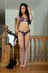 Ali Gets Naked From Tight Denim Shorts With A Fitted Black Jumper Over Pretty Purple Lingerie - Picture 10