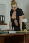 Drogan In Tight Black Suit Over Black Lingerie And Lace Top Holdups - Picture 5