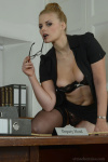 Drogan In Tight Black Suit Over Black Lingerie And Lace Top Holdups - Picture 6
