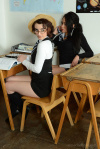 Ali And Victoria Strip Their Cute Uniforms And Lingerie - Picture 1