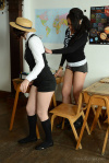 Ali And Victoria Strip Their Cute Uniforms And Lingerie - Picture 2